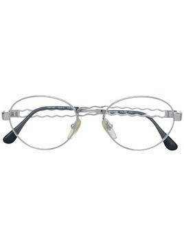 Moschino Pre-Owned oval shaped glasses - Metallic