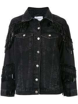 Dalood bead-fringe denim jacket - Black