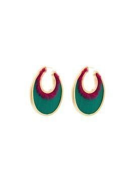 Katerina Makriyianni 24kt gold-plated oval earrings - Green