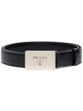 Prada black logo buckle leather belt