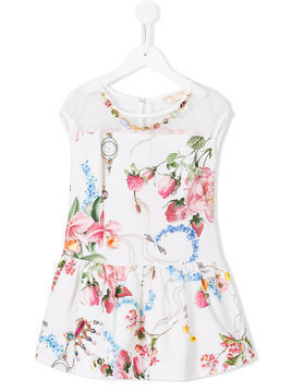 Monnalisa Chic - floral print dress - Kinder - Cotton/Polyester - 12 yrs - White