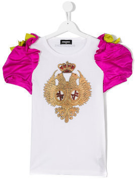 Dsquared2 Kids - puff sleeve T-shirt - Kinder - Cotton/Polyester - 14 yrs - Pink & Purple