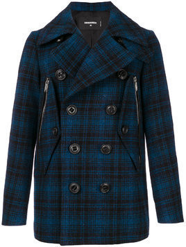 Dsquared2 checked double breasted coat - Blue