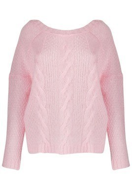 Black Coral crew-neck cable knit sweater - PINK