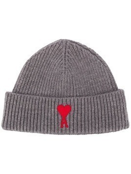 AMI logo-patch knitted beanie hat - Grey