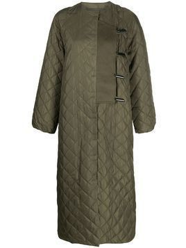 GANNI quilted mid-length coat - Green