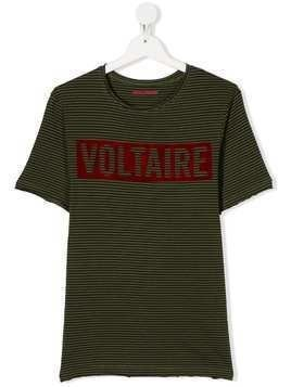 Zadig & Voltaire Kids TEEN logo striped T-shirt - Green