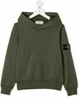 Stone Island Junior logo-patch hoodie - Green
