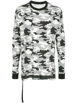 Unravel Project military printed elongated sweatshirt - Grey