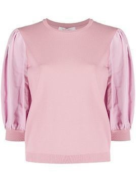 Valentino puff-sleeve knitted top - PINK