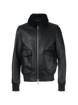 Ami Alexandre Mattiussi shearling collar zipped bomber jacket - Black