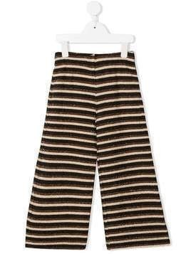Caffe' D'orzo metallic striped palazzo trousers - Brown