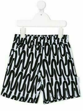 Neil Barrett Kids abstract-print track shorts - White