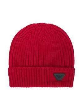 Emporio Armani Kids ribbed beanie - Red