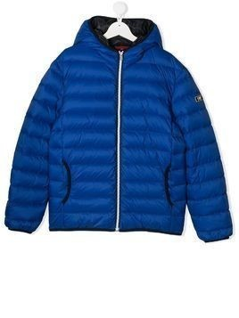Fay Kids TEEN quilted hooded jacket - Blue