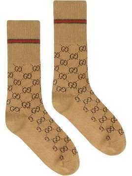 Gucci GG cotton socks with Web - Brown