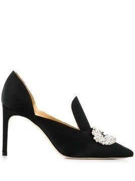 Giannico satin crystal pumps - Black