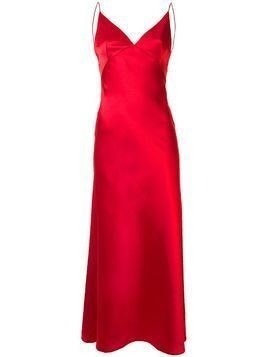 Dalood long v-neck dress - Red