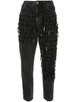 Dalood beaded slim-fit jeans - Black