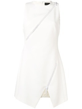 David Koma zip-embellished crepe dress - White