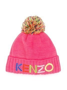 Kenzo Kids embroidered logo beanie hat - PINK