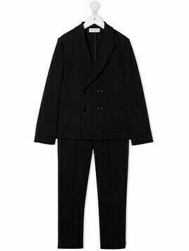 Paolo Pecora Kids notched-lapels double-breasted two-piece suit - Blue