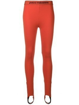 Paco Rabanne stretch jersey leggings - Red