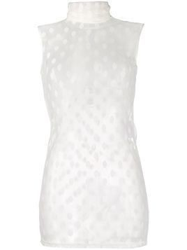 Styland sheer dotted tank top - White