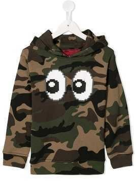 Mostly Heard Rarely Seen 8-Bit Eyez print camouflage hoodie - Green