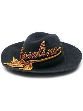 Borsalino Claudette logo patch hat - Blue