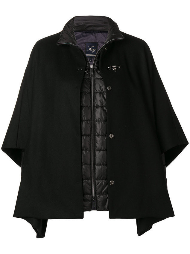 Fay cape layer padded jacket - Black