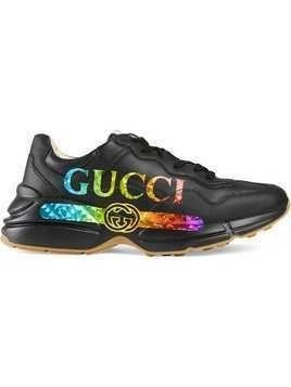 Gucci Rhyton leather sneaker with Gucci logo - Black