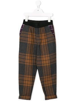 Caffe' D'orzo plaid print trousers - Grey
