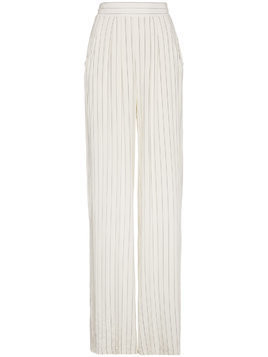 Lot78 wide leg striped trousers - White