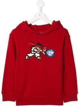 Mostly Heard Rarely Seen 8-Bit Tiny White Warrior hoodie - Red