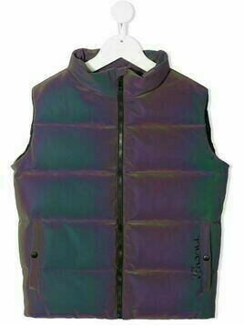 Young Versace logo-print padded gilet - Purple