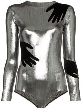 Alexia Hentsch x Browns hands applique metallic bodysuit - Silver