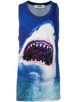 MSGM shark print tank top - Blue