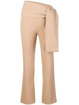 Romeo Gigli Pre-Owned knot detail slim-fit trousers - NEUTRALS