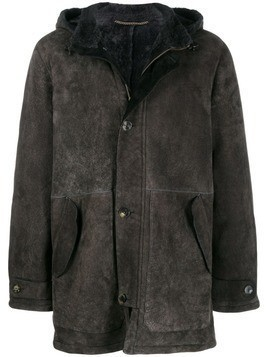 Ajmone hooded shearling coat - Grey
