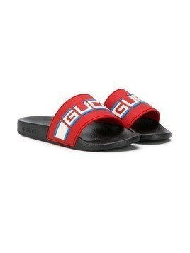 Gucci Kids modern logo slides - Red