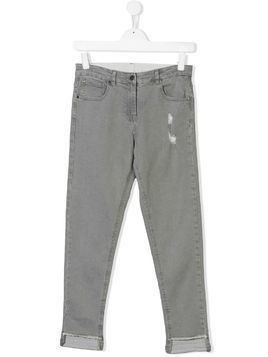 Stella Mccartney Kids TEEN distressed straight-leg jeans - Grey