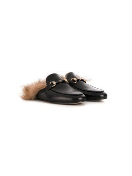 Gallucci Kids horsebit slippers - Black