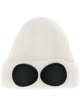 CP Company knitted goggle beanie - White