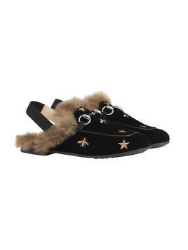 Gucci Kids Children's Princetown bees and stars slippers - Black