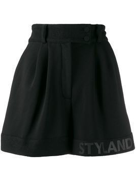 Styland pleated logo lined shorts - Black