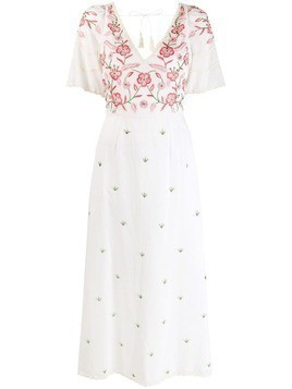 Antik Batik embroidered floral panel dress - White