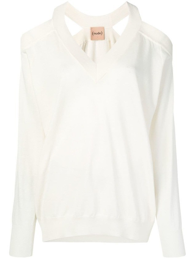 Nude cold shoulder jumper - White