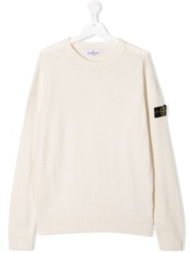 Stone Island Junior logo patch sweater - White