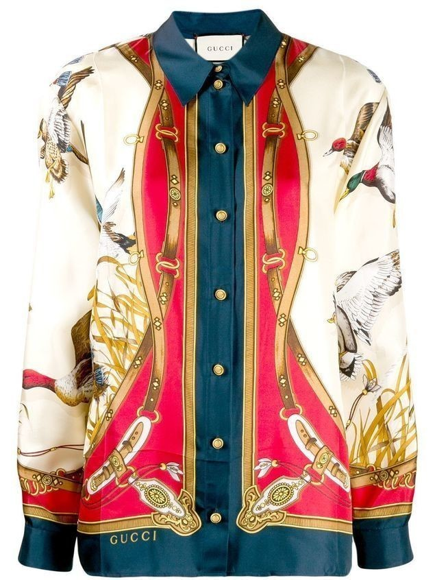 Gucci Flying Duck print long-sleeved shirt - White
